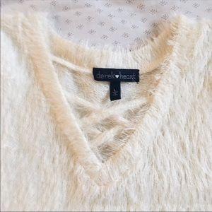 Urban Outfitters Tops - Derek White Fuzzy Criss Cross Neck Top